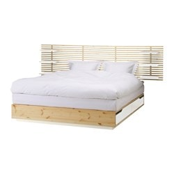 MANDAL bed frame with headboard, birch, white