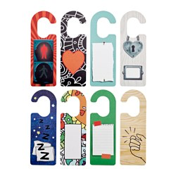 STOPPAR door tag, assorted designs Length: 27 cm Width: 9 cm Package quantity: 4 pieces