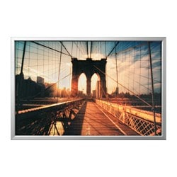 BJÖRKSTA picture with frame, Brooklyn Bridge at sunset, aluminium-colour