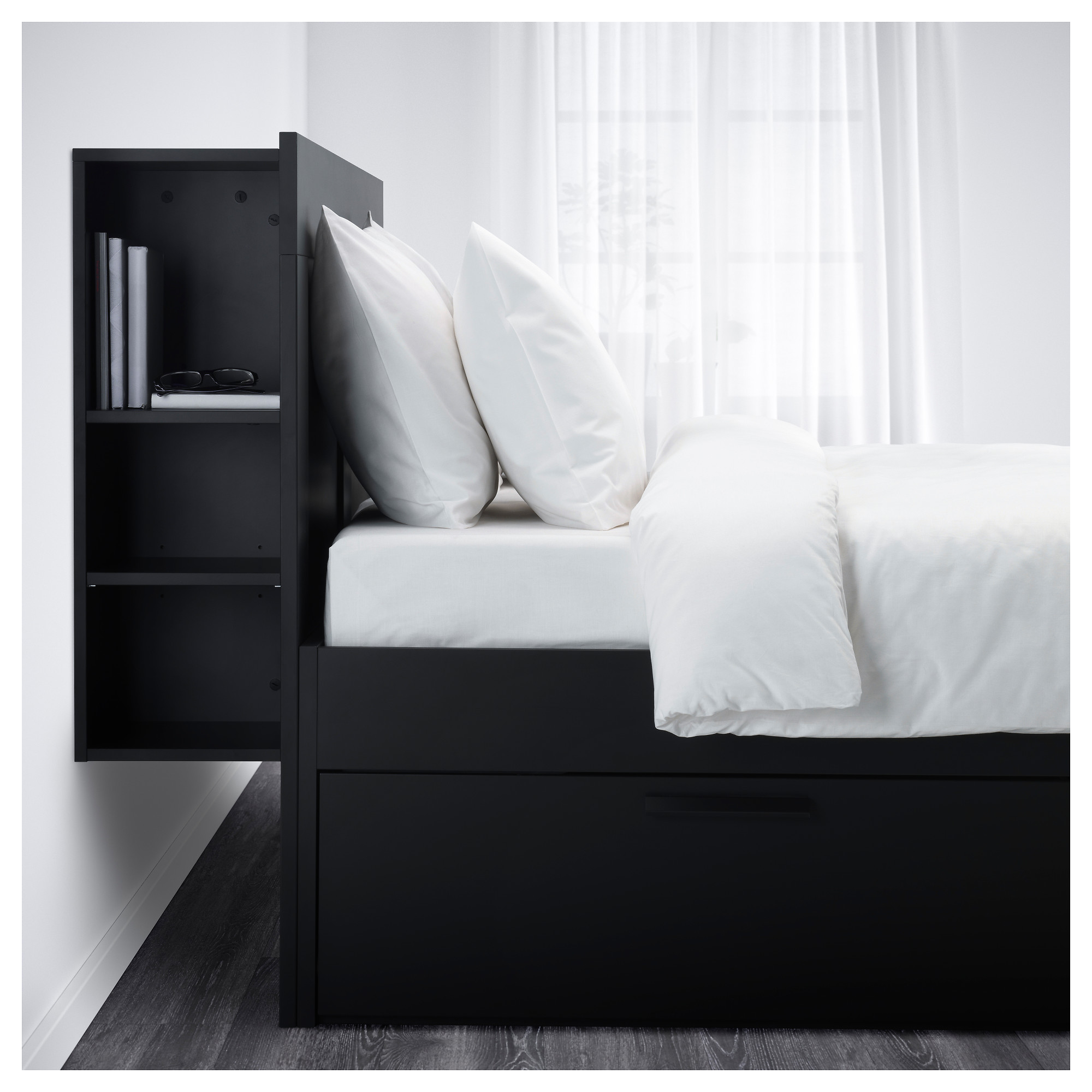 BRIMNES Bed frame with storage & headboard black Queen Luröy IKEA