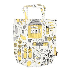 TREBLAD bag, white/yellow, grey Length: 40 cm Height: 45 cm