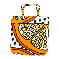 TREBLAD bag, orange, white/black Length: 40 cm Height: 45 cm