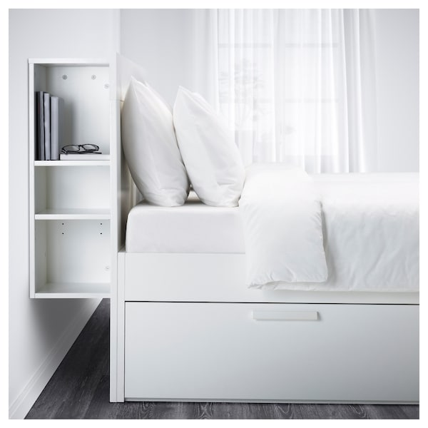 brimnes cadre de lit rangement t te de lit blanc ikea. Black Bedroom Furniture Sets. Home Design Ideas