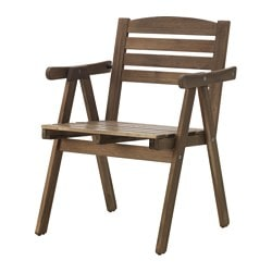 FALHOLMEN chair with armrests, outdoor, grey-brown stained Width: 57 cm Depth: 55 cm Height: 80 cm