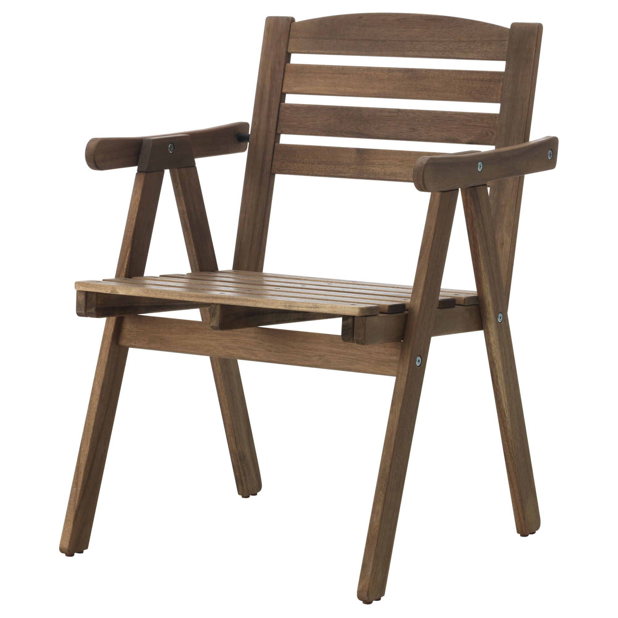 Wooden chairs with armrest - Falholmen Armchair Outdoor Gray Brown Stained Width 22 1 2