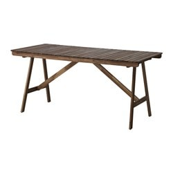 FALHOLMEN table, outdoor, gray-brown stained