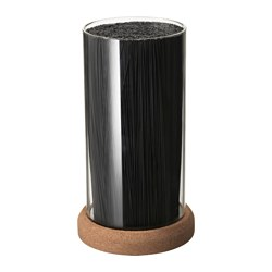 "IKEA 365+ knife block Height: 9 ½ "" Diameter: 5 "" Height: 24 cm Diameter: 13 cm"