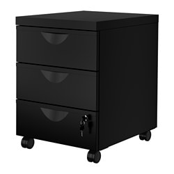 ERIK drawer unit w 3 drawers on castors, black Width: 41 cm Depth: 50 cm Height: 57 cm