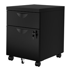 ERIK drawer unit w 2 drawers on castors, black