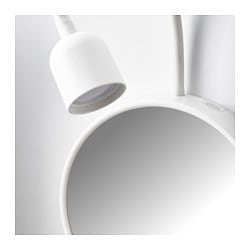 BLÅVIK LED Wall Lamp With Mirror, Battery Operated White