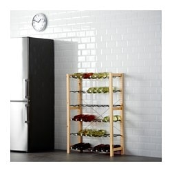 IVAR, Shelving unit with bottle racks, pine, gray