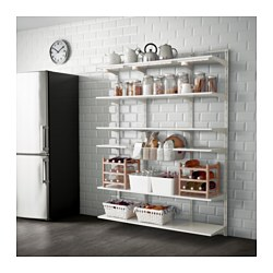 ALGOT wall upright/shelf/basket, white