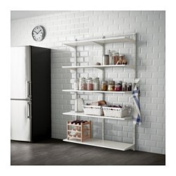 ALGOT wall upright/shelf/triple hook, white