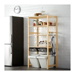 IVAR shelving unit with drawers, pine, gray