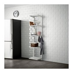 ALGOT, Wall upright, shelf and hook, metal white