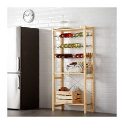 IVAR 1 section/shelves/bottle racks, grey, pine Width: 89 cm Depth: 30 cm Height: 179 cm