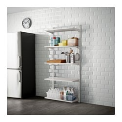 ALGOT wall upright/shelf/hook, white Width: 88 cm Depth: 41 cm Height: 199 cm