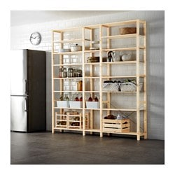 IVAR, 3 section shelving unit, pine