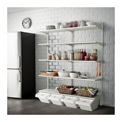 ALGOT wall upright/shelf/hook, white Width: 176 cm Depth: 41 cm Height: 199 cm