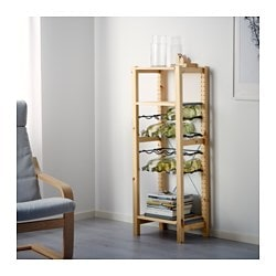 IVAR shelving unit with bottle racks, pine, gray