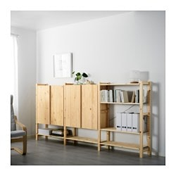 IVAR 3 sections/shelves/cabinet, pine