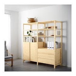IVAR 2 sections/shelves/cabinet/chest, pine Width: 174 cm Depth: 50 cm Height: 179 cm