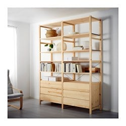 "IVAR 2 section shelving unit with chest, pine Width: 68 1/2 "" Depth: 19 5/8 "" Height: 89 "" Width: 174 cm Depth: 50 cm Height: 226 cm"