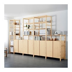 IVAR 5 sections with shelves/cabinets, pine