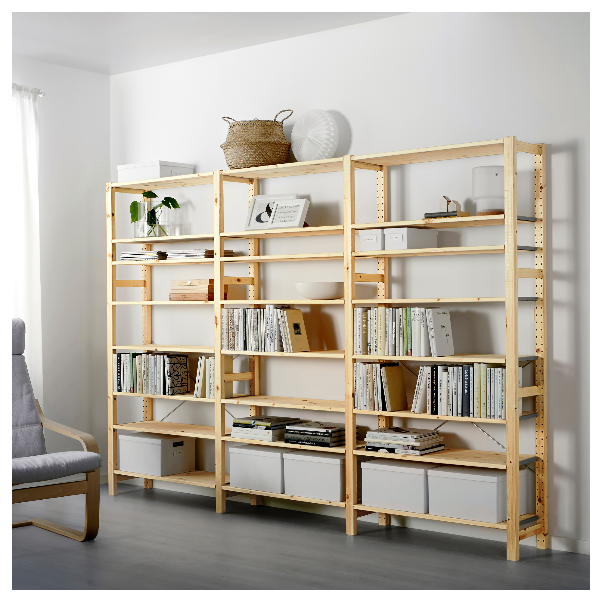 Adjustable Width Shelving Ivar System Combinations All Parts Ikea