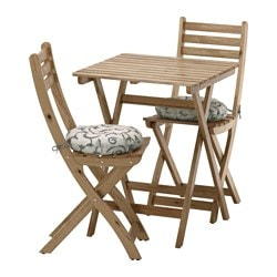 ASKHOLMEN table+2 chairs, outdoor, gray-brown stained, Stegön beige