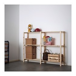 IVAR 2 section shelving unit, pine