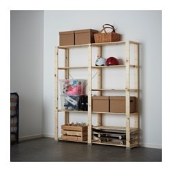 "HEJNE 2 section shelving unit, softwood Width: 60 5/8 "" Depth: 12 1/4 "" Height: 67 3/8 "" Width: 154 cm Depth: 31 cm Height: 171 cm"