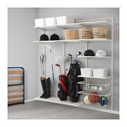 ALGOT wall upright/shelf/basket, white Width: 190 cm Depth: 40 cm Height: 196 cm