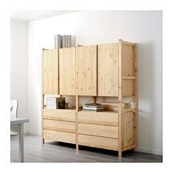 "IVAR 2 section unit w/cabinets & chests, pine Width: 68 1/2 "" Depth: 19 5/8 "" Height: 70 1/2 "" Width: 174 cm Depth: 50 cm Height: 179 cm"