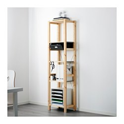 IVAR 1 section/shelves/drawers, pine, grey Width: 48 cm Width of drawer: 36 cm Depth: 30 cm