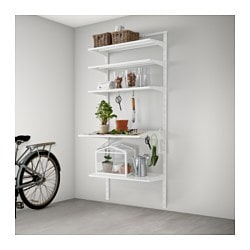 ALGOT wall upright/shelf/hook, metal white Width: 85 cm Depth: 60 cm Height: 196 cm