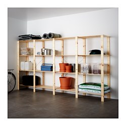 HEJNE 4 sections/shelves, softwood Width: 307 cm Depth: 50 cm Height: 171 cm
