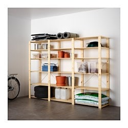 HEJNE 3 sections/shelves, softwood Width: 230 cm Depth: 50 cm Height: 171 cm