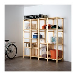 IVAR, 4 section shelving unit, pine