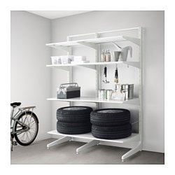 ALGOT post/foot/shelves, metal white Width: 147 cm Depth: 67 cm Height: 194 cm