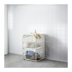 "ALGOT frame with 2 mesh baskets/top shelf, white Width: 16 1/8 "" Depth: 23 5/8 "" Height: 28 3/8 "" Width: 41 cm Depth: 60 cm Height: 72 cm"
