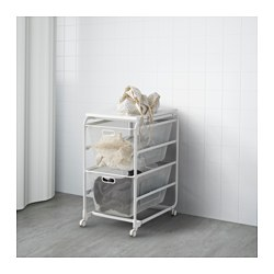 "ALGOT frame with 2 mesh baskets/top shelf, white Width: 16 1/8 "" Depth: 23 5/8 "" Height: 30 3/4 "" Width: 41 cm Depth: 60 cm Height: 78 cm"