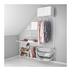 ALGOT wall upright/shelves/trouser hanger, white Width: 189 cm Depth: 40 cm Height: 196 cm