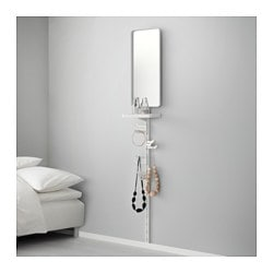 ALGOT wall upright/mirror/triple hook, white Width: 30 cm Depth: 22 cm Height: 196 cm
