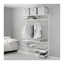 ALGOT wall upright/wire baskets, white Width: 132 cm Depth: 40 cm Height: 196 cm