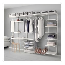 ALGOT Wall Upright/shelf/triple Hook, White Width: 278 Cm Depth: