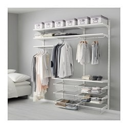ALGOT wall upright/shelves/rod, white Width: 190 cm Depth: 40 cm Height: 196 cm