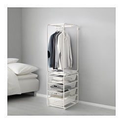 ALGOT, Frame with rod and mesh baskets, white