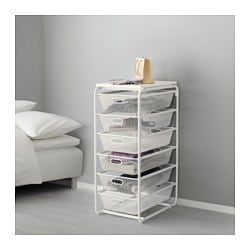 "ALGOT frame with 6 mesh baskets/top shelf, white Width: 16 1/8 "" Depth: 23 5/8 "" Height: 41 3/8 "" Width: 41 cm Depth: 60 cm Height: 105 cm"