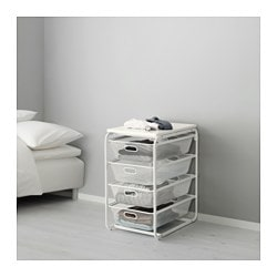 ALGOT, Frame with 4 mesh baskets/top shelf, white